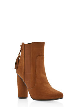 High Heel Booties with Tassel Detail - 1113073115225