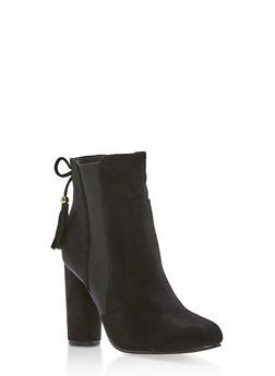 High Heel Booties with Tassel Detail - 1113073115225