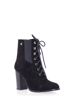 Lace-Up Ankle Boots with Stacked Heel - 1113073115254