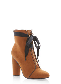 Ribbon Tie Zip Front Booties - TAN F/S - 1113073115263