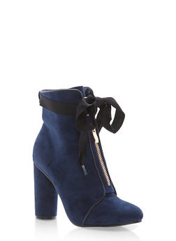 Ribbon Tie Zip Front Booties - NAVY F/S - 1113073115263