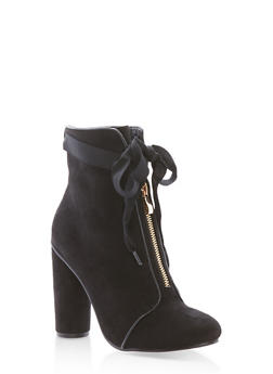Ribbon Tie Zip Front Booties - BLACK F/S - 1113073115263