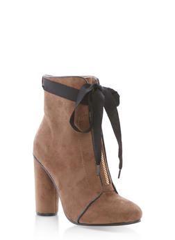 Ribbon Tie Zip Front Booties - TAUPE F/S - 1113073115263