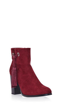 Faux Suede Ankle Boots with Side Tassels - 1113073115264