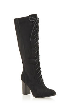 Lace Up Knee High Boots - BLACK - 1113073115630