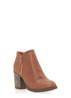 Side Zip Ankle Boots with Block Heel - 1113073117260