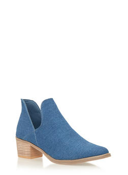 Ankle Boots with Side Cutouts - DENIM - 1113073117272
