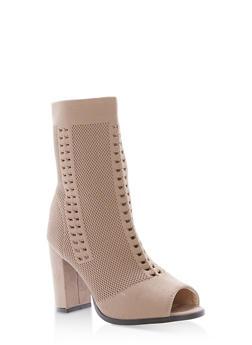 Open Toe Knit High Heel Booties - 1113073117274