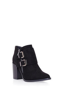 Ankle Boots with Side Buckle Accents - 1113073117633