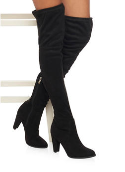 Thigh High Boots with Tie Back - BLACK - 1113073117878
