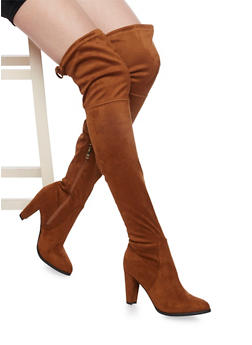 Thigh High Boots with Tie Back - TAN - 1113073117878