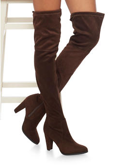 Thigh High Boots with Tie Back - COFFEE - 1113073117878