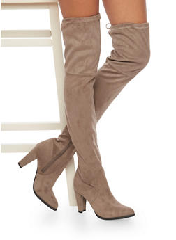 Thigh High Boots with Tie Back - TAUPE - 1113073117878