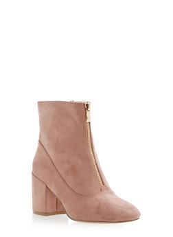 Front Zip Mid Heel Booties - 1113073119477
