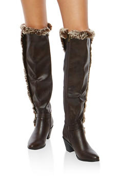 Faux Leather Over the Knee Heeled Boots - 1113073492243