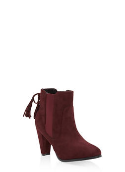 Side Gore Tassel Lace Up Booties - 1113073493559