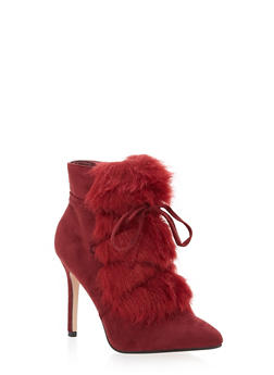 Faux Fur Lace Up High Heel Booties - 1113073493655