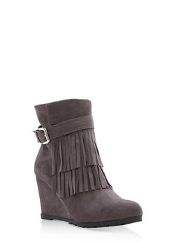 Faux Suede Fringe Wedge Booties - 1113073495824