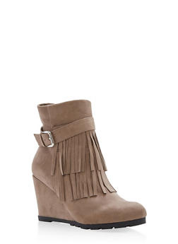 Faux Suede Fringe Wedge Booties - TAUPE - 1113073495824