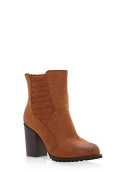 Quilted Detail High Heel Booties - 1113073497247