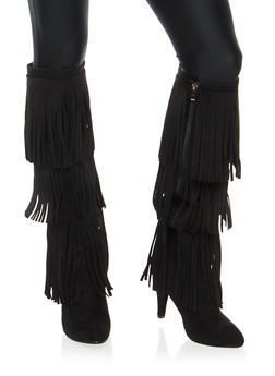 Faux Suede Fringe High Heel Boots - 1113073497663