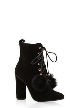 Lace Up High Heel Booties - BLACK - 1113073497667