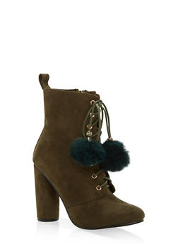 Lace Up High Heel Booties - 1113073497667