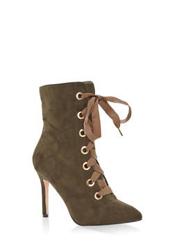 Lace Up High Heel Booties - 1113073497746