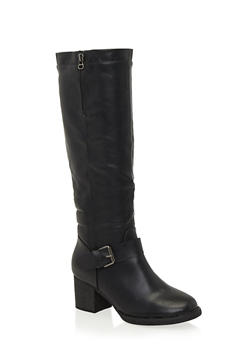 Knee High Boots with Side Buckle Accents - 1113073497749