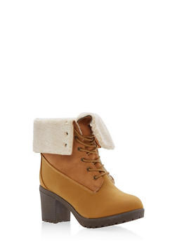 Faux Suede Fleece Lined Fold Over Booties - 1113073498127
