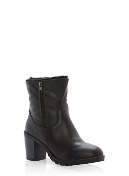 Sweater Lined High Heel Booties - BLACK - 1113073498139