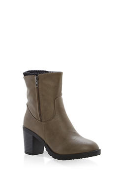 Sweater Lined High Heel Booties - GRAY - 1113073498139