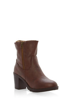 Sweater Lined High Heel Booties - BROWN - 1113073498139