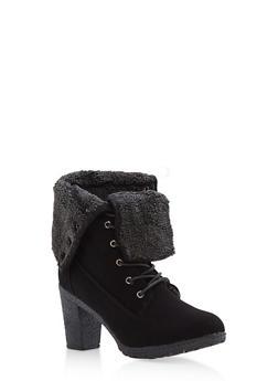 Fold Over Fleece Lined High Heel Work Boots - 1113073498143