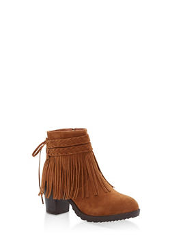 Faux Suede Fringe Booties - 1113073542934