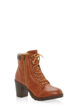 Padded Collar Mid Heel Lace Up Booties - COGNAC - 1113073547666