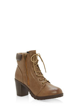 Padded Collar Mid Heel Lace Up Booties - STONE - 1113073547666