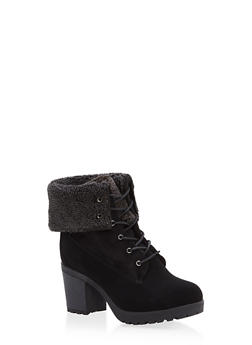 Sherpa Cuff Lace Up Booties - 1113073548127