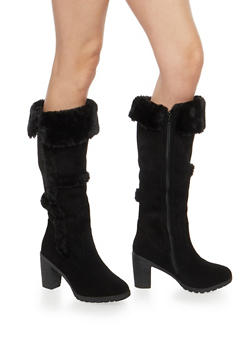 Faux Fur Trim Tall Boots - 1113073548184