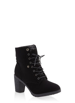Sweater Cuff Lace Up High Heel Booties - 1113073548186