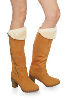 Faux Fur Cuffed High Heel Boots - 1113073548187