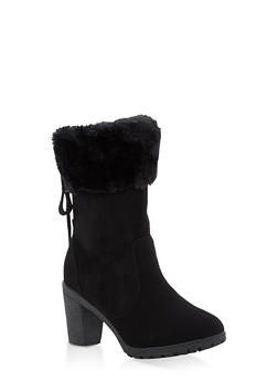 Faux Fur Cuff High Heel Lace Up Booties - 1113073548188