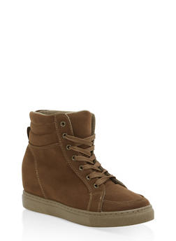 Faux Suede High Top Wedge Sneakers - OLIVE F/S - 1114004062626