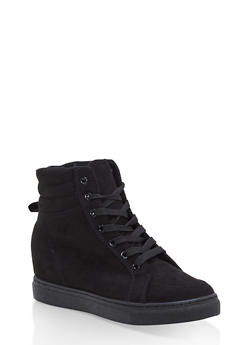 Faux Suede High Top Wedge Sneakers - BLACK F/S - 1114004062626