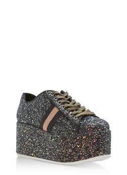 Glitter Platform Lace Up Sneakers - 1114004068788