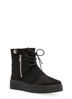 High Top Lace Up Creeper Sneakers - BLACK F/S - 1114014064860