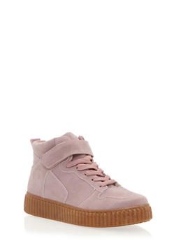 High Top Creeper Sneaker with Grip Tape Ankle Strap - MAUVE/NATURAL - 1114029002368