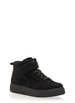 High Top Creeper Sneaker with Grip Tape Ankle Strap - BLACK FS/BLACK - 1114029002368
