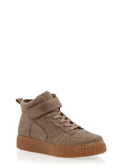 High Top Creeper Sneaker with Grip Tape Ankle Strap - TAUPE/NATURAL - 1114029002368