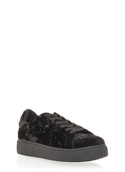 Crushed Velvet Creeper Sneakers - 1114029005210